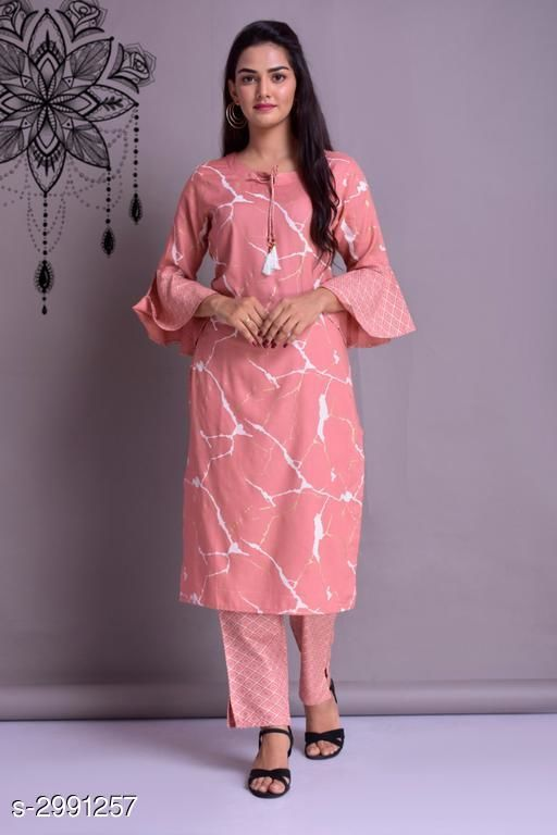 Kurta Sets Pretty Women's Rayon Kurti Set  *Fabric* Kurti - Cotton , Pant - Cotton  *Sleeves* Sleeves Are Included  *Size* Kurti - XL - 42 in, XXL - 44 in, Pant- XL - 34 in, XXL - 36 in  *Length* Kurti - Up To 44 in, Pant - Up To 39 in  *Type* Stitched  *Description* It Has 1 Piece Of Kurti With 1 Piece Of Pant  *Pattern / Work * Kurti - Printed, Pant- Checkered  *Sizes Available* Free Size, XL   SKU: 5 Free shipping is available for this item. Pkt. Weight Range: 600  Catalog Name: Hrishita Pretty Women's Rayon Kurta Sets Vol 3 - SARITA ETHNIC CENTER Code: 968-2991257--