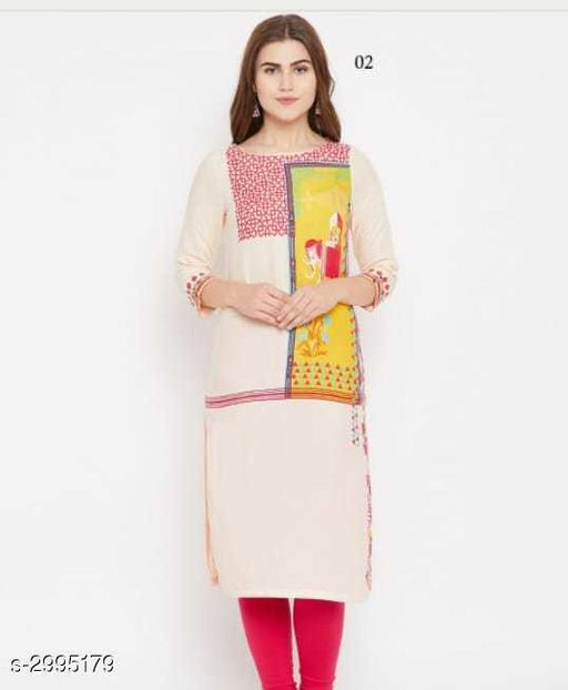 Kurta Sets Fancy Crepe Womens Kurta Set  *Fabric* Kurti - Crepe, Legging - Cotton  *Sleeves* Sleeves Are Included  *Size* Kurti - XL - 42 in, Legging - 28 in, 30 in, 32 in, 34 in, 36 in (Free Size)  *Length* Kurti - Up To 46 in, Legging - Up To 36 in  *Type* Stitched  *Description* It Has 1 Piece Of Kurti With 1 Piece Of Legging  *Work / Pattern* Kurti - Printed, Legging - Solid  *Sizes Available* Free Size, XL   SKU: 11 Free shipping is available for this item. Pkt. Weight Range: 400  Catalog Name: New Fancy Crepe Womens Kurta Sets Vol 6 - Archi Boutique Code: 965-2995179--