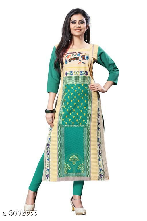 Kurtis & Kurtas Trendy Crepe  Women's Kurtis  *Trendy Crepe  Women's KurtisFabric* Crepe  *Sleeves* Sleeves Are Included  *Size* S - 36 in, M - 38 in, L - 40 in, XL - 42 in, XXL - 44 in  *Length* Up To 44 in  *Type* Stitched  *Description* It Has 1 Piece Of Women's Kurti  *Work* Printed  *Sizes Available* S, M, L, XL, XXL   Supplier Rating: ★3.9 (6050) SKU: 117-1 Shipping charges: Rs49 (Non-refundable) Pkt. Weight Range: 300  Catalog Name:  Carissa  Crepe Women's Kurtis Vol 2 - Crepe wali Kurtis Code: 982-3002555--