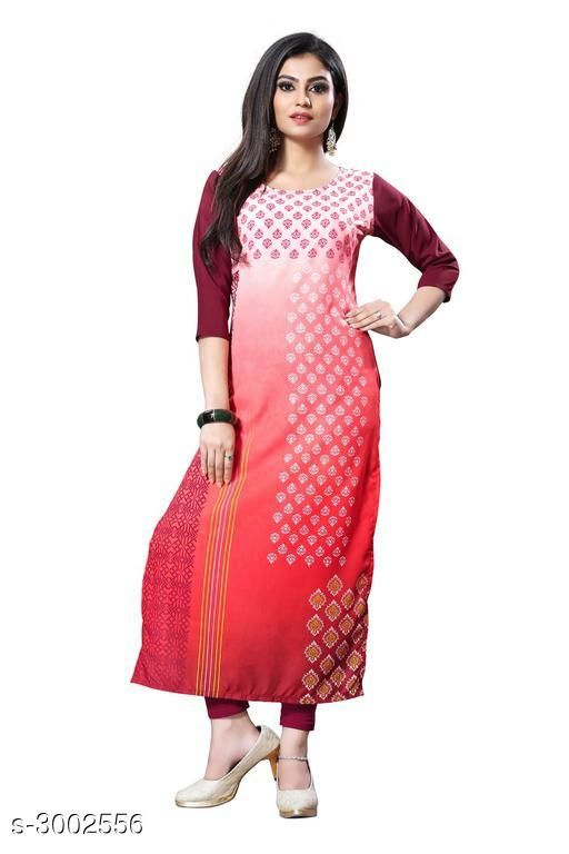 Kurtis & Kurtas Trendy Crepe  Women's Kurtis  *Fabric* Crepe  *Sleeves* Sleeves Are Included  *Size* S - 36 in, M - 38 in, L - 40 in, XL - 42 in, XXL - 44 in  *Length* Up To 44 in  *Type* Stitched  *Description* It Has 1 Piece Of Women's Kurti  *Work* Printed  *Sizes Available* S, M, L, XL, XXL   Supplier Rating: ★3.9 (6050) SKU: 127-1 Shipping charges: Rs49 (Non-refundable) Pkt. Weight Range: 300  Catalog Name:  Carissa  Crepe Women's Kurtis Vol 2 - Crepe wali Kurtis Code: 982-3002556--