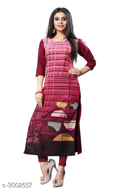 Kurtis & Kurtas Trendy Crepe  Women's Kurtis  *Fabric* Crepe  *Sleeves* Sleeves Are Included  *Size* S - 36 in, M - 38 in, L - 40 in, XL - 42 in, XXL - 44 in  *Length* Up To 44 in  *Type* Stitched  *Description* It Has 1 Piece Of Women's Kurti  *Work* Printed  *Sizes Available* S, M, L, XL, XXL   Supplier Rating: ★3.9 (6050) SKU: 112-1 Shipping charges: Rs49 (Non-refundable) Pkt. Weight Range: 300  Catalog Name:  Carissa  Crepe Women's Kurtis Vol 2 - Crepe wali Kurtis Code: 982-3002557--