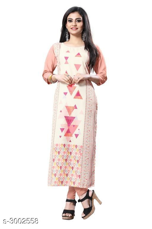 Kurtis & Kurtas Trendy Crepe  Women's Kurtis  *Fabric* Crepe  *Sleeves* Sleeves Are Included  *Size* S - 36 in, M - 38 in, L - 40 in, XL - 42 in, XXL - 44 in  *Length* Up To 44 in  *Type* Stitched  *Description* It Has 1 Piece Of Women's Kurti  *Work* Printed  *Sizes Available* S, M, L, XL, XXL   Supplier Rating: ★3.9 (6050) SKU: 122-1 Shipping charges: Rs49 (Non-refundable) Pkt. Weight Range: 300  Catalog Name:  Carissa  Crepe Women's Kurtis Vol 2 - Crepe wali Kurtis Code: 982-3002558--