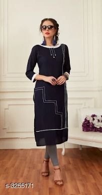 Kurtis & Kurtas Trend Rayon Women's Kurti   *Fabric* Rayon  *Sleeves* Sleeves Are Included  *Size* M- 38 in, L - 40 in, XL - 42 in, XXL - 44 in  *Length* Up To 46 in  *Type* Stitched  *Color * Black  *Description* It Has 1 Piece Of Women's Kurti  *Work* Embroidery  *Sizes Available* M, L, XL, XXL   Supplier Rating: ★4.3 (124) SKU: FESTIVE 03 Free shipping is available for this item. Pkt. Weight Range: 300  Catalog Name: Priya Trend Rayon Women's Kurti Vol 1 - Baps Fashion Pvt Ltd Code: 527-3255171--