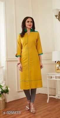 Kurtis & Kurtas Trend Rayon Women's Kurti   *Fabric* Rayon  *Sleeves* Sleeves Are Included  *Size* M- 38 in, L - 40 in, XL - 42 in, XXL - 44 in  *Length* Up To 46 in  *Type* Stitched  *Color * Yellow  *Description* It Has 1 Piece Of Women's Kurti  *Work* Embroidery  *Sizes Available* M, L, XL, XXL   Supplier Rating: ★4.3 (124) SKU: FESTIVE 05 Free shipping is available for this item. Pkt. Weight Range: 300  Catalog Name: Priya Trend Rayon Women's Kurti Vol 1 - Baps Fashion Pvt Ltd Code: 527-3255173--