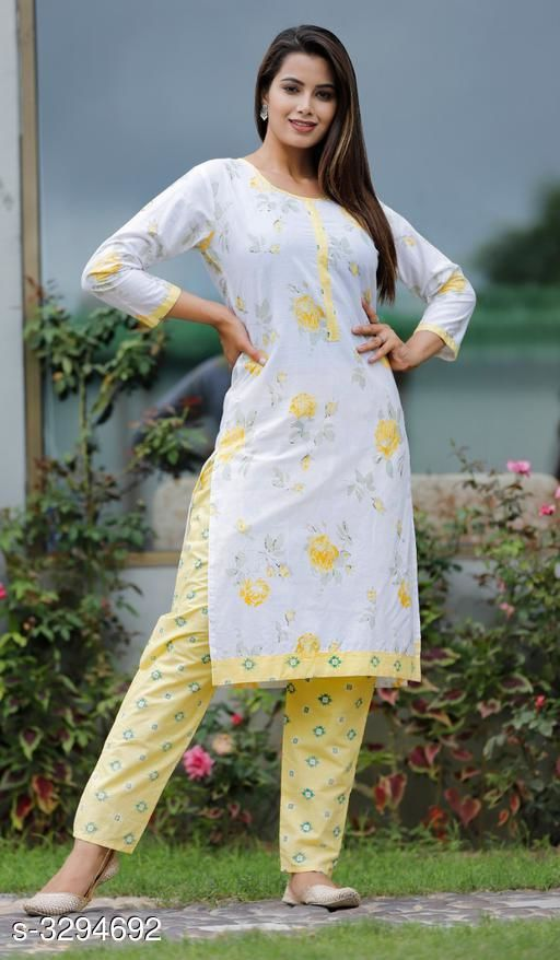 Kurta Sets Alluring Rayon Printed Women's Kurtis Set  *Fabric* Kurti- Rayon , Pant - Rayon  *Sleeves* Sleeves Are Included  *Size* Kurti-  M - 38 in, L - 40 in, XL - 42 in, XXL - 44 in, Pant - M - 30 in, L - 32 in, XL - 34 in, XXL - 36 in  *Length* Kurti - Up To  44 in , Pant - Up To 34 in  *Type* Stitched  *Description* It Has 1 Piece Of Kurti With 1 Piece Of Pant  *Work * Kurti - Printed, Pant - Printed  *Sizes Available* M, L, XL, XXL   Supplier Rating: ★3.6 (10) SKU: SKT1100 Free shipping is available for this item. Pkt. Weight Range: 500  Catalog Name: Charvi Alluring Rayon Printed Women's Kurtis Sets Vol 1 - SK Kripa Code: 027-3294692--