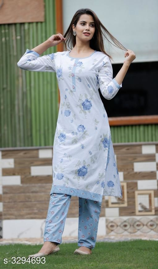 Kurta Sets Alluring Rayon Printed Women's Kurtis Set  *Fabric* Kurti- Rayon , Pant - Rayon  *Sleeves* Sleeves Are Included  *Size* Kurti-  M - 38 in, L - 40 in, XL - 42 in, XXL - 44 in, Pant - M - 30 in, L - 32 in, XL - 34 in, XXL - 36 in  *Length* Kurti - Up To  44 in , Pant - Up To 34 in  *Type* Stitched  *Description* It Has 1 Piece Of Kurti With 1 Piece Of Pant  *Work * Kurti - Printed, Pant - Printed  *Sizes Available* M, L, XL, XXL   Supplier Rating: ★3.6 (10) SKU: SKT1101 Free shipping is available for this item. Pkt. Weight Range: 500  Catalog Name: Charvi Alluring Rayon Printed Women's Kurtis Sets Vol 1 - SK Kripa Code: 027-3294693--