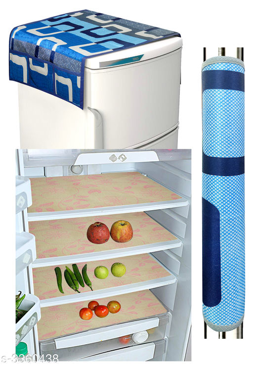 Appliance Covers & Fridge Mats Stylish Useful Covers & Fridge Mat  *Material* Fridge Mat - Fiber, Fridge Top Cover-Knitting, Fridge Handle Cover -Knitting  *Size (L X W)* Fridge Mat - 11 in x 17 in, Fridge Top Cover - 21 in x 38 in, Handle Cover - 5 in x 12 in  *Description* It Has 4 Pieces Of Fridge Mats, 1 Pieces Of Fridge Handle Cover, & 1 Piece Of Fridge Top Cover  *Work* Fridge Mat - Printed, Fridge Top Cover - Printed, Fridge Handle Cover - Printed  *Sizes Available* Free Size   Supplier Rating: ★3.9 (34272) SKU: h_(16) Shipping charges: Rs49 (Non-refundable) Pkt. Weight Range: 400  Catalog Name: Home Stylish Useful Covers & Fridge Mats Combo Vol 20 - LOOM Code: 042-3360438--