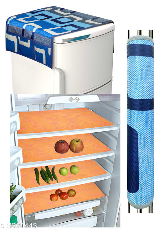 Appliance Covers & Fridge Mats Stylish Useful Covers & Fridge Mat  *Material* Fridge Mat - Fiber, Fridge Top Cover-Knitting, Fridge Handle Cover -Knitting  *Size (L X W)* Fridge Mat - 11 in x 17 in, Fridge Top Cover - 21 in x 38 in, Handle Cover - 5 in x 12 in  *Description* It Has 4 Pieces Of Fridge Mats, 1 Pieces Of Fridge Handle Cover, & 1 Piece Of Fridge Top Cover  *Work* Fridge Mat - Printed, Fridge Top Cover - Printed, Fridge Handle Cover - Printed  *Sizes Available* Free Size   Supplier Rating: ★3.9 (34272) SKU: h_(18) Shipping charges: Rs49 (Non-refundable) Pkt. Weight Range: 400  Catalog Name: Home Stylish Useful Covers & Fridge Mats Combo Vol 20 - LOOM Code: 042-3360443--