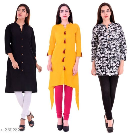 Kurtis & Kurtas Casual Cotton Rayon Kurtis Pack Of 3  *Fabric* Cotton Rayon   *Sleeves* Sleeves Are Included   *Size* M - 38 in, L - 40 in, XL - 42 in, XXL - 44 in   *Length* Kurti 1 - Up To 40 in, Kurti 2  - Up To 44 in, Kurti 3 - Up To 34 in            *Type* Stitched   *Description* It Has 3 Pieces Of Kurtis   *Work* Kurti1 - Solid, Kurti 2 - Solid, Kurti 3 - Printed  *Sizes Available* M, L, XL, XXL   Supplier Rating: ★4.1 (3285) SKU: BS-KT09-137-106 Shipping charges: Rs1 (Non-refundable) Pkt. Weight Range: 1000  Catalog Name: Ladies Casual Straight Kurtis Combo Vol 4 - JAISJ Code: 849-359282--9101