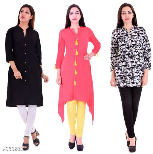 Kurtis & Kurtas Casual Cotton Rayon Kurtis Pack Of 3  *Fabric* Cotton Rayon   *Sleeves* Sleeves Are Included   *Size* M - 38 in, L - 40 in, XL - 42 in, XXL - 44 in   *Length* Kurti 1 - Up To 40 in, Kurti 2  - Up To 44 in, Kurti 3 - Up To 34 in            *Type* Stitched   *Description* It Has 3 Pieces Of Kurtis   *Work* Kurti1 - Solid, Kurti 2 - Solid, Kurti 3 - Printed  *Sizes Available* M, L, XL, XXL   Supplier Rating: ★4.1 (3285) SKU: BS-KT09-138-106 Shipping charges: Rs1 (Non-refundable) Pkt. Weight Range: 1000  Catalog Name: Ladies Casual Straight Kurtis Combo Vol 4 - JAISJ Code: 849-359283--9101
