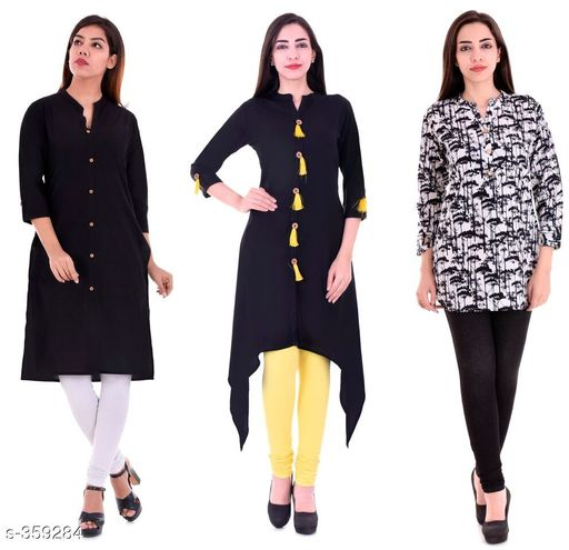 Kurtis & Kurtas Casual Cotton Rayon Kurtis Pack Of 3  *Fabric* Cotton Rayon   *Sleeves* Sleeves Are Included   *Size* M - 38 in, L - 40 in, XL - 42 in, XXL - 44 in   *Length* Kurti 1 - Up To 40 in, Kurti 2  - Up To 44 in, Kurti 3 - Up To 34 in            *Type* Stitched   *Description* It Has 3 Pieces Of Kurtis   *Work* Kurti1 - Solid, Kurti 2 - Solid, Kurti 3 - Printed  *Sizes Available* M, L, XL, XXL   Supplier Rating: ★4.1 (3285) SKU: BS-KT09-139-106 Shipping charges: Rs1 (Non-refundable) Pkt. Weight Range: 1000  Catalog Name: Ladies Casual Straight Kurtis Combo Vol 4 - JAISJ Code: 849-359284--9101