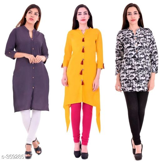 Kurtis & Kurtas Casual Cotton Rayon Kurtis Pack Of 3  *Fabric* Cotton Rayon   *Sleeves* Sleeves Are Included   *Size* M - 38 in, L - 40 in, XL - 42 in, XXL - 44 in   *Length* Kurti 1 - Up To 40 in, Kurti 2  - Up To 44 in, Kurti 3 - Up To 34 in            *Type* Stitched   *Description* It Has 3 Pieces Of Kurtis   *Work* Kurti1 - Solid, Kurti 2 - Solid, Kurti 3 - Printed  *Sizes Available* M, L, XL, XXL   Supplier Rating: ★4.1 (3285) SKU: BS-KT10-137-106 Shipping charges: Rs1 (Non-refundable) Pkt. Weight Range: 1000  Catalog Name: Ladies Casual Straight Kurtis Combo Vol 4 - JAISJ Code: 849-359285--9101