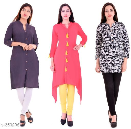 Kurtis & Kurtas Casual Cotton Rayon Kurtis Pack Of 3  *Fabric* Cotton Rayon   *Sleeves* Sleeves Are Included   *Size* M - 38 in, L - 40 in, XL - 42 in, XXL - 44 in   *Length* Kurti 1 - Up To 40 in, Kurti 2  - Up To 44 in, Kurti 3 - Up To 34 in            *Type* Stitched   *Description* It Has 3 Pieces Of Kurtis   *Work* Kurti1 - Solid, Kurti 2 - Solid, Kurti 3 - Printed  *Sizes Available* M, L, XL, XXL   Supplier Rating: ★4.1 (3285) SKU: BS-KT10-138-106 Shipping charges: Rs1 (Non-refundable) Pkt. Weight Range: 1000  Catalog Name: Ladies Casual Straight Kurtis Combo Vol 4 - JAISJ Code: 849-359286--9101