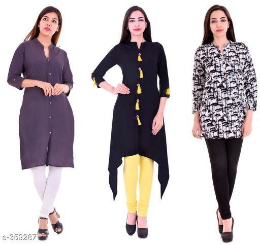 Kurtis & Kurtas Casual Cotton Rayon Kurtis Pack Of 3  *Fabric* Cotton Rayon   *Sleeves* Sleeves Are Included   *Size* M - 38 in, L - 40 in, XL - 42 in, XXL - 44 in   *Length* Kurti 1 - Up To 40 in, Kurti 2  - Up To 44 in, Kurti 3 - Up To 34 in            *Type* Stitched   *Description* It Has 3 Pieces Of Kurtis   *Work* Kurti1 - Solid, Kurti 2 - Solid, Kurti 3 - Printed  *Sizes Available* M, L, XL, XXL   Supplier Rating: ★4.1 (3285) SKU: BS-KT10-139-106 Shipping charges: Rs1 (Non-refundable) Pkt. Weight Range: 1000  Catalog Name: Ladies Casual Straight Kurtis Combo Vol 4 - JAISJ Code: 849-359287--9101