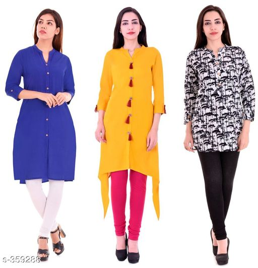 Kurtis & Kurtas Casual Cotton Rayon Kurtis Pack Of 3  *Fabric* Cotton Rayon   *Sleeves* Sleeves Are Included   *Size* M - 38 in, L - 40 in, XL - 42 in, XXL - 44 in   *Length* Kurti 1 - Up To 40 in, Kurti 2  - Up To 44 in, Kurti 3 - Up To 34 in            *Type* Stitched   *Description* It Has 3 Pieces Of Kurtis   *Work* Kurti1 - Solid, Kurti 2 - Solid, Kurti 3 - Printed  *Sizes Available* M, L, XL, XXL   Supplier Rating: ★4.1 (3285) SKU: BS-KT11-137-106 Shipping charges: Rs1 (Non-refundable) Pkt. Weight Range: 1000  Catalog Name: Ladies Casual Straight Kurtis Combo Vol 4 - JAISJ Code: 849-359288--9101