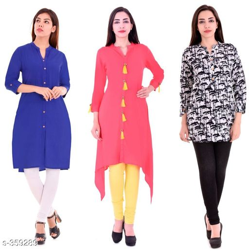 Kurtis & Kurtas Casual Cotton Rayon Kurtis Pack Of 3  *Fabric* Cotton Rayon   *Sleeves* Sleeves Are Included   *Size* M - 38 in, L - 40 in, XL - 42 in, XXL - 44 in   *Length* Kurti 1 - Up To 40 in, Kurti 2  - Up To 44 in, Kurti 3 - Up To 34 in            *Type* Stitched   *Description* It Has 3 Pieces Of Kurtis   *Work* Kurti1 - Solid, Kurti 2 - Solid, Kurti 3 - Printed  *Sizes Available* M, L, XL, XXL   Supplier Rating: ★4.1 (3285) SKU: BS-KT11-138-106 Shipping charges: Rs1 (Non-refundable) Pkt. Weight Range: 1000  Catalog Name: Ladies Casual Straight Kurtis Combo Vol 4 - JAISJ Code: 849-359289--9101