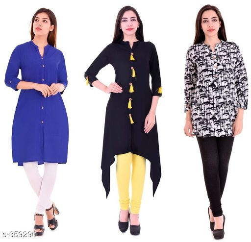 Kurtis & Kurtas Casual Cotton Rayon Kurtis Pack Of 3  *Fabric* Cotton Rayon   *Sleeves* Sleeves Are Included   *Size* M - 38 in, L - 40 in, XL - 42 in, XXL - 44 in   *Length* Kurti 1 - Up To 40 in, Kurti 2  - Up To 44 in, Kurti 3 - Up To 34 in            *Type* Stitched   *Description* It Has 3 Pieces Of Kurtis   *Work* Kurti1 - Solid, Kurti 2 - Solid, Kurti 3 - Printed  *Sizes Available* M, L, XL, XXL   Supplier Rating: ★4.1 (3285) SKU: BS-KT11-139-106 Shipping charges: Rs1 (Non-refundable) Pkt. Weight Range: 1000  Catalog Name: Ladies Casual Straight Kurtis Combo Vol 4 - JAISJ Code: 849-359290--9101