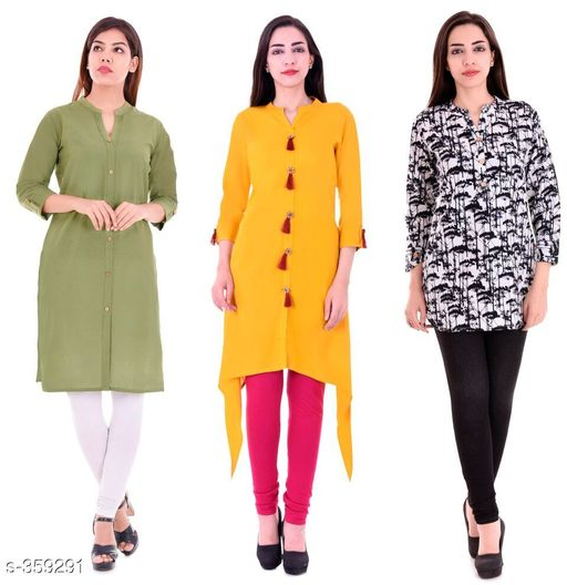 Kurtis & Kurtas Casual Cotton Rayon Kurtis Pack Of 3  *Fabric* Cotton Rayon   *Sleeves* Sleeves Are Included   *Size* M - 38 in, L - 40 in, XL - 42 in, XXL - 44 in   *Length* Kurti 1 - Up To 40 in, Kurti 2  - Up To 44 in, Kurti 3 - Up To 34 in            *Type* Stitched   *Description* It Has 3 Pieces Of Kurtis   *Work* Kurti1 - Solid, Kurti 2 - Solid, Kurti 3 - Printed  *Sizes Available* M, L, XL, XXL   Supplier Rating: ★4.1 (3285) SKU: BS-KT12-137-106 Shipping charges: Rs1 (Non-refundable) Pkt. Weight Range: 1000  Catalog Name: Ladies Casual Straight Kurtis Combo Vol 4 - JAISJ Code: 849-359291--9101