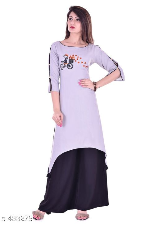 Kurta Sets Trendy Embroidered Rayon Kurti Set  *Fabric* Kurti - Rayon, Palazzo - Rayon 