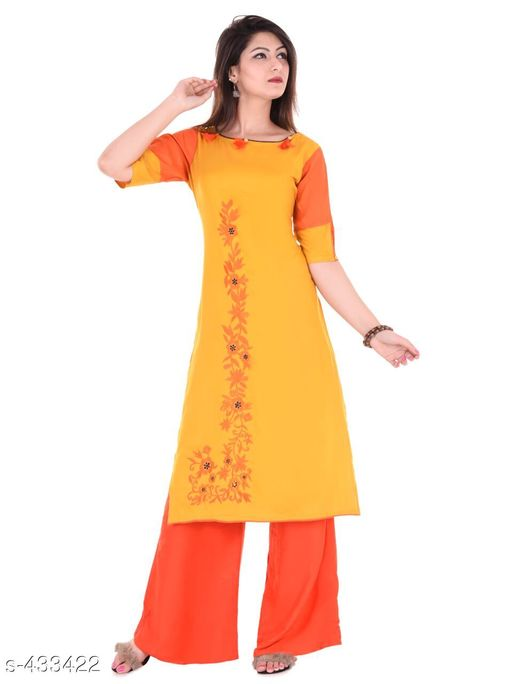 Kurta Sets Designer Embroidered Rayon Kurti Set  *Fabric* Kurti - Rayon, Palazzo - Rayon   *Sleeves* Kurti - Half Sleeves Are Included   *size* Kurti   *Length* Kurti - Up to 46 in, Palazzo - Up to 38 in   *Type* Stitched   *Description* It Has 1 Piece Of Kurti & 1 Piece Of Palazzo   *Work/ Pattern* Kurti - Embroidered, Palazzo - Solid  *Sizes Available* S, M, L, XL, XXL   Supplier Rating: ★4.2 (219) SKU: Kurti-PL03Yellow Free shipping is available for this item. Pkt. Weight Range: 600  Catalog Name: Karuna Rayon Embroidered Kurta Set Vol 1 - Monroe Code: 987-433422--