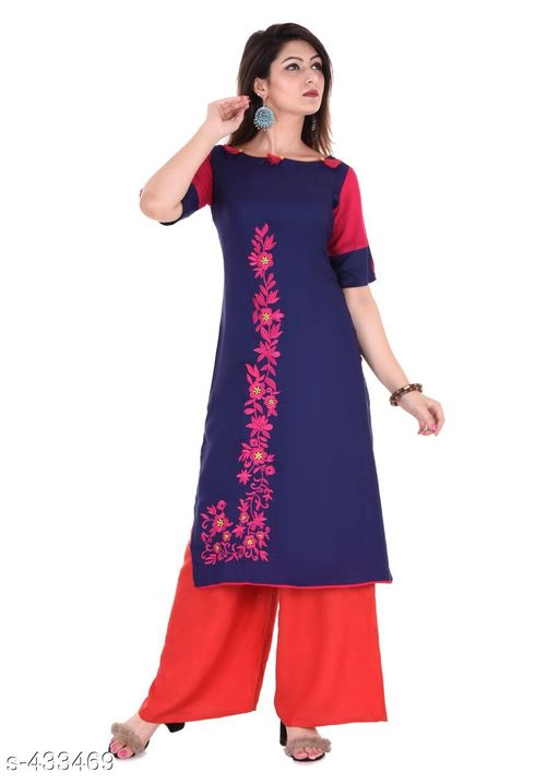 Kurta Sets Designer Embroidered Rayon Kurti Set  *Fabric* Kurti - Rayon, Palazzo - Rayon   *Sleeves* Kurti - Half Sleeves Are Included   *size* Kurti   *Length* Kurti - Up to 46 in, Palazzo - Up to 38 in   *Type* Stitched   *Description* It Has 1 Piece Of Kurti & 1 Piece Of Palazzo   *Work/ Pattern* Kurti - Embroidered, Palazzo - Solid  *Sizes Available* S, M, L, XL, XXL   Catalog Rating: ★4.7 (6) Supplier Rating: ★4.2 (219) SKU: Kurti-PL03Blue Free shipping is available for this item. Pkt. Weight Range: 600  Catalog Name: Karuna Rayon Embroidered Kurta Set Vol -1 - Monroe Code: 438-433469--