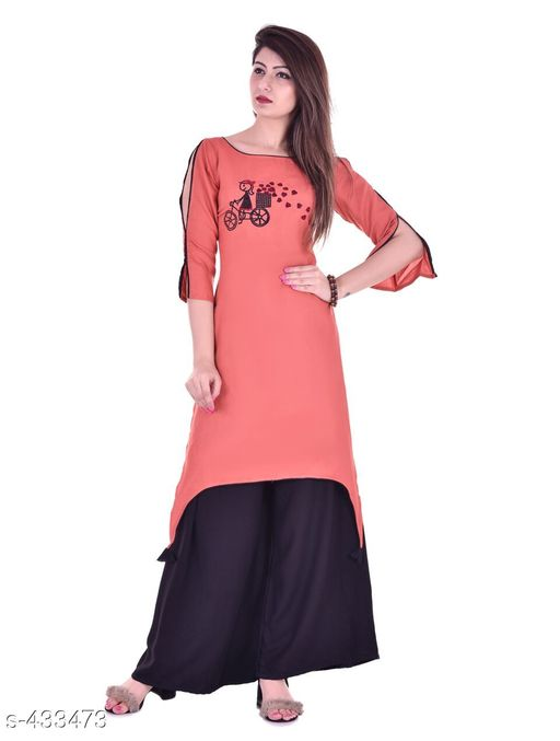 Kurta Sets Designer Embroidered Rayon Kurti Set  *Fabric* Kurti - Rayon, Palazzo - Rayon   *Sleeves* Kurti - Half Sleeves Are Included   *size* Kurti   *Length* Kurti - Up to 46 in, Palazzo - Up to 38 in   *Type* Stitched   *Description* It Has 1 Piece Of Kurti & 1 Piece Of Palazzo   *Work/ Pattern* Kurti - Embroidered, Palazzo - Solid  *Sizes Available* S, M, L, XL, XXL   Catalog Rating: ★4.7 (6) Supplier Rating: ★4.2 (219) SKU: Kurti-PL06Peach Free shipping is available for this item. Pkt. Weight Range: 600  Catalog Name: Karuna Rayon Embroidered Kurta Set Vol -1 - Monroe Code: 438-433473--