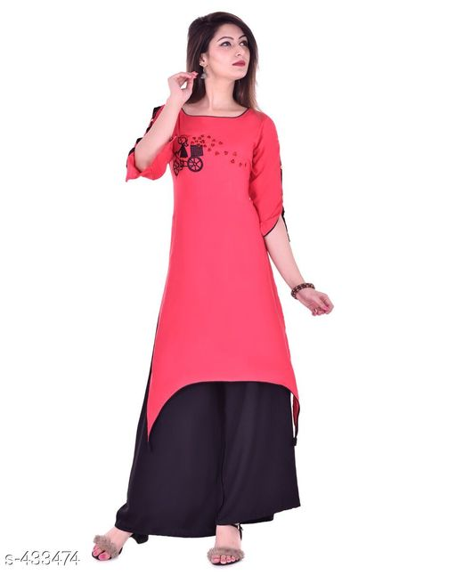Kurta Sets Designer Embroidered Rayon Kurti Set  *Fabric* Kurti - Rayon, Palazzo - Rayon   *Sleeves* Kurti - Half Sleeves Are Included   *size* Kurti   *Length* Kurti - Up to 46 in, Palazzo - Up to 38 in   *Type* Stitched   *Description* It Has 1 Piece Of Kurti & 1 Piece Of Palazzo   *Work/ Pattern* Kurti - Embroidered, Palazzo - Solid  *Sizes Available* S, M, L, XL, XXL   Catalog Rating: ★4.7 (6) Supplier Rating: ★4.2 (219) SKU: Kurti-PL06Red Free shipping is available for this item. Pkt. Weight Range: 600  Catalog Name: Karuna Rayon Embroidered Kurta Set Vol -1 - Monroe Code: 438-433474--