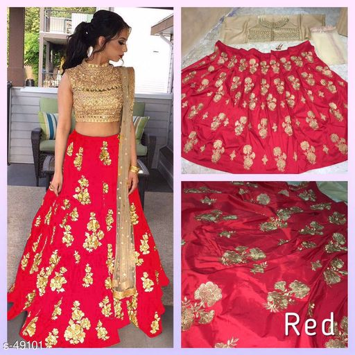 Lehengas Stylish Partywear Lehenga  *Fabric* Top - Taffeta Silk, Bottom - Banglori Satin Silk, Dupatta - Net 