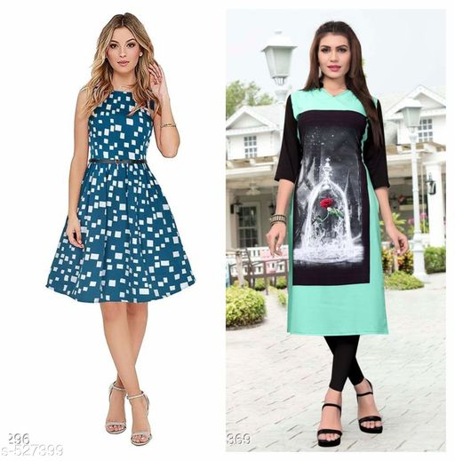 Kurtis & Kurtas Comfy American Crepe Kurtis Combo  *Fabric* Kurti - American Crepe, Dress - American Crepe   *Sleeves* Kurti - 3/4 Sleeves Are Included, Dress - Sleeves Are Not Included   *Size* Kurti - M - 38 in, L - 40 in, XL - 42 in, Dress - M - 38 in, L - 40 in, XL - 42 in   *Length* Kurti - Up To 40 in, Dress Up To 38 in   *Type* Stitched   *Description* It Has 1 Piece Of Kurti & 1 Piece Of Dress   *Work* Kurti - Digital Printed, Dress - Printed  *Sizes Available* L, XXL   Supplier Rating: ★3.9 (7304) SKU: HIGHWAY GREEN_109  Free shipping is available for this item. Pkt. Weight Range: 600  Catalog Name: Bhoomi Relaxed American Crepe Kurtis Combo Vol 2 - Point Break Code: 896-527399--