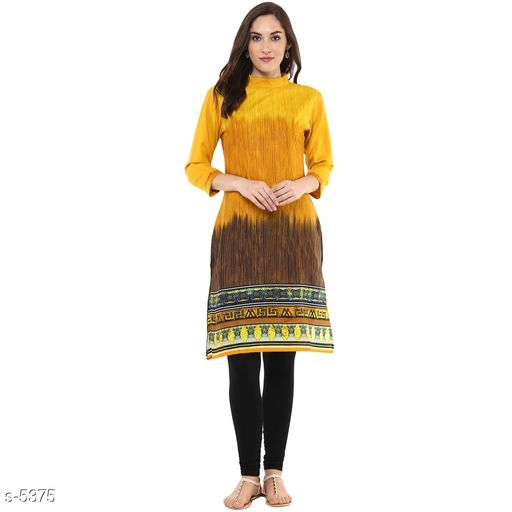 Kurtis & Kurtas Stylish Ombre Print Kurti  *Fabric* Cotton 