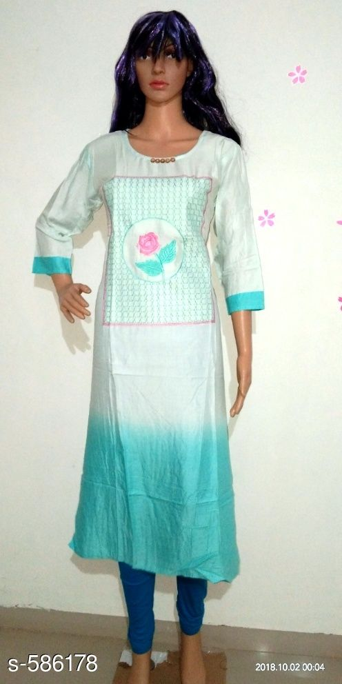 Kurtis & Kurtas Alluring Women Embroidery Kurti  *Fabric* Cotton and Rayon  *Sleeves* 3/4 Sleeves Are Included  *Size* Kurti - Up To 38 in - 46 in ( Free Size ) , Leggings - Up To 28 in - 36 in  *Length* Kurti - Up To 49 In , Leggings - Up To 37 in  *Type* Stitched  *Description* It Has 1 Piece Of Kurti with Leggings  *Work* Kurti - Embroidery , Leggings - Solid  *Sizes Available* XL   Supplier Rating: ★3.5 (54) SKU: TKCS_ (1) Free shipping is available for this item. Pkt. Weight Range: 600  Catalog Name: Additri Ravishing Embroidery Kurtis Vol 5 - Simplicity Code: 388-586178--