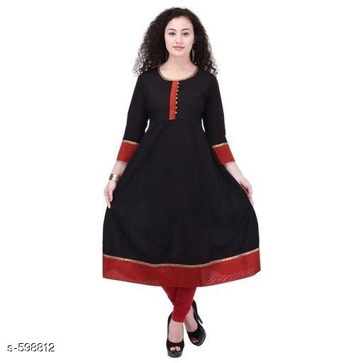 Kurtis & Kurtas Stylish Festive & Party wear Kurti  *Fabric* Kurti – Cotton  *Sleeves* Sleeves Are Included  *Size* S – 36 in, M – 38 in, L – 40 in, XL – 42 in, XXL – 44 in, XXXL – 46 in  *Length* Up To 44 in  *Type* Stitched  *Description* It Has 1 Piece Of Kurti  *Work* Printed  *Sizes Available* S, M, L, XL, XXL, XXXL   Catalog Rating: ★4 (29) Supplier Rating: ★4.2 (11928) SKU: AYN272-BKR Free shipping is available for this item. Pkt. Weight Range: 300  Catalog Name: Black Zarastya Fashion Kurtis - Sale Mantra Code: 785-598812--346