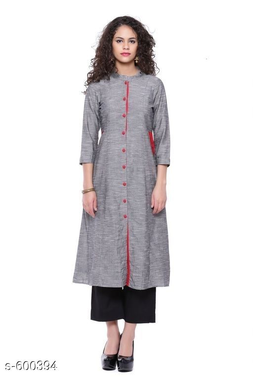 Kurtis & Kurtas Stylish Festive & Party wear Kurti  *Fabric* Kurti – Cotton  *Sleeves* Sleeves Are Included  *Size* S – 36 in, M – 38 in, L – 40 in, XL – 42 in, XXL – 44 in, XXXL – 46 in  *Length* Up To 44 in  *Type* Stitched  *Description* It Has 1 Piece Of Kurti  *Work* Printed  *Sizes Available* S, M, L, XL, XXL, XXXL   Catalog Rating: ★4.2 (262) Supplier Rating: ★4.2 (11928) SKU: AYN328-GRY Free shipping is available for this item. Pkt. Weight Range: 300  Catalog Name: Classic Cotton Women Kurtis - Sale Mantra Code: 135-600394--885