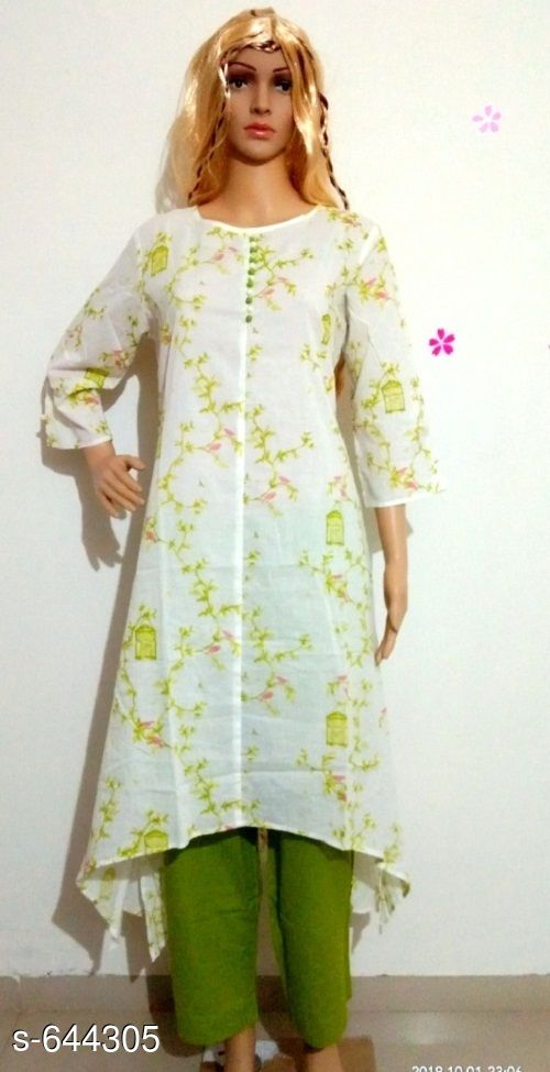 Kurtis & Kurtas Beautiful Women's Kurta Set  *Fabric* Kurti - Rayon Cotton, Pant - Cotton  *Sleeves* Kurti - 3/4 Sleeves Are Included  *Size* Kurti - S - 36 in, M- 38 in, L - 40 in, Pant - S - 28 in, M- 30 in, L - 32 in  *Length* Kurti - Up To 45 in, Pant - Up To 38 in  *Type* Stitched  *Description* It Has 1 Piece Of Kurti & 1 Piece Of Pant  *Work* Kurti - Printed, Pant - Solid  *Sizes Available* M, L   Supplier Rating: ★3.5 (52) SKU: Designer Cotton Duck Shape Kurti with Cotton Pant Free shipping is available for this item. Pkt. Weight Range: 600  Catalog Name: Annabelle Pretty Women's Kurta Set 5 - Simplicity Code: 9121-644305--