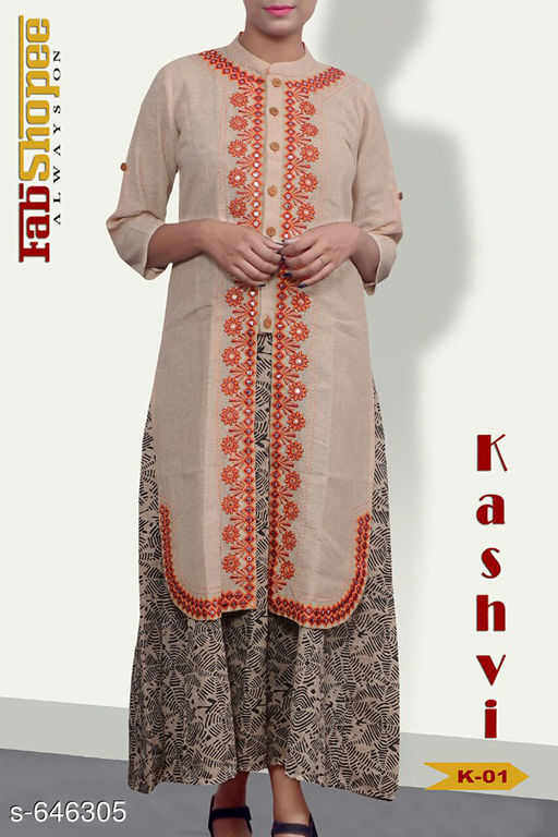 Kurtis & Kurtas Trendy Jute & Cotton Kurtis  *Fabric* Jute & Cotton  *Sleeves* 3/4 Sleeves Are Included  *Size* L - 40 in, XL - 42 in  *Length* Upto 50 in  *Type* Stitched  *Description* It Has 1 Piece Of Womens Kurti  *Work* Embroidery work with Mirror & Stone.  *Sizes Available* L, XL   SKU: TJCK-1 Free shipping is available for this item. Pkt. Weight Range: 300  Catalog Name: Anna Pretty Womens Kurti  Vol 8 - SVU Code: 546-646305--