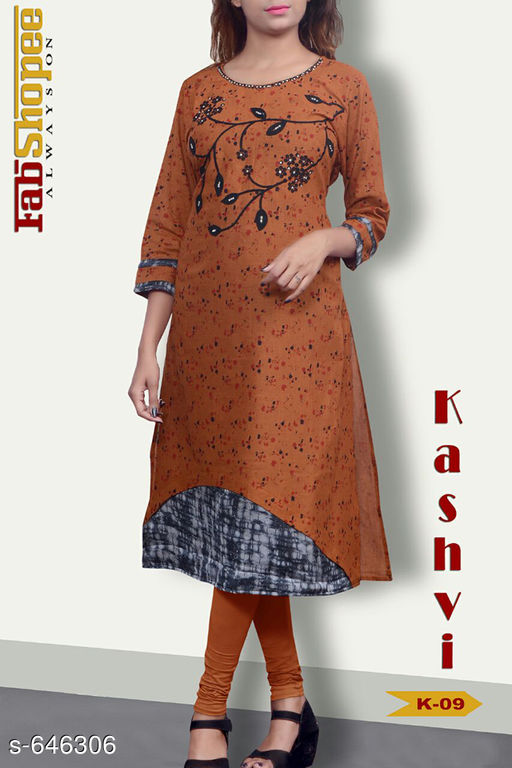 Kurtis & Kurtas Trendy Jute & Cotton Kurtis  *Fabric* Jute & Cotton  *Sleeves* 3/4 Sleeves Are Included  *Size* L - 40 in, XL - 42 in  *Length* Upto 48 in  *Type* Stitched  *Description* It Has 1 Piece Of Womens Kurti  *Work* Embroidery work with Mirror & Stone.  *Sizes Available* L, XL   SKU: TJCK-2 Free shipping is available for this item. Pkt. Weight Range: 300  Catalog Name: Anna Pretty Womens Kurti  Vol 8 - SVU Code: 546-646306--