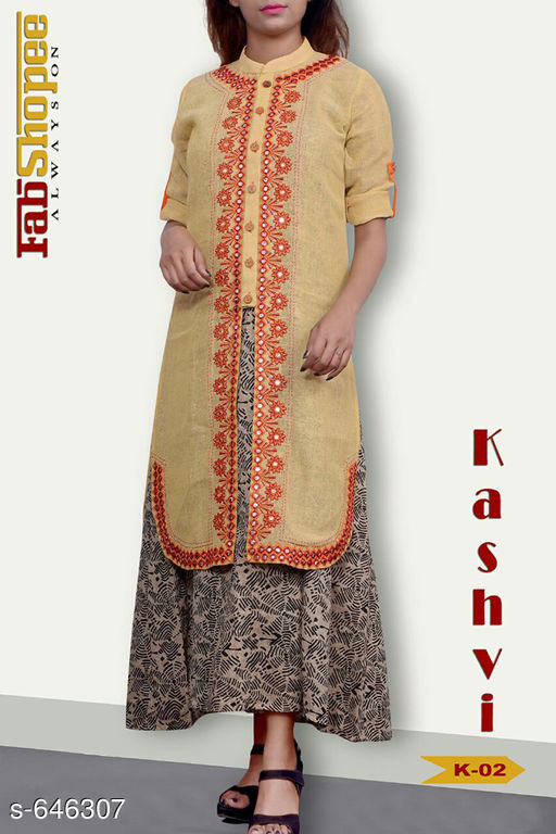 Kurtis & Kurtas Trendy Jute & Cotton Kurtis  *Fabric* Jute & Cotton  *Sleeves* 3/4 Sleeves Are Included  *Size* L - 40 in, XL - 42 in  *Length* Upto 50 in  *Type* Stitched  *Description* It Has 1 Piece Of Womens Kurti  *Work* Embroidery work with Mirror & Stone.  *Sizes Available* L, XL   SKU: TJCK-3 Free shipping is available for this item. Pkt. Weight Range: 300  Catalog Name: Anna Pretty Womens Kurti  Vol 8 - SVU Code: 546-646307--