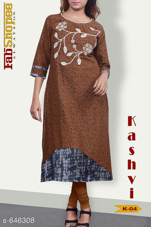 Kurtis & Kurtas Trendy Jute & Cotton Kurtis  *Fabric* Jute & Cotton  *Sleeves* 3/4 Sleeves Are Included  *Size* L - 40 in, XL - 42 in  *Length* Upto 48 in  *Type* Stitched  *Description* It Has 1 Piece Of Womens Kurti  *Work* Embroidery work with Mirror & Stone.  *Sizes Available* L, XL   SKU: TJCK-4 Free shipping is available for this item. Pkt. Weight Range: 300  Catalog Name: Anna Pretty Womens Kurti  Vol 8 - SVU Code: 546-646308--