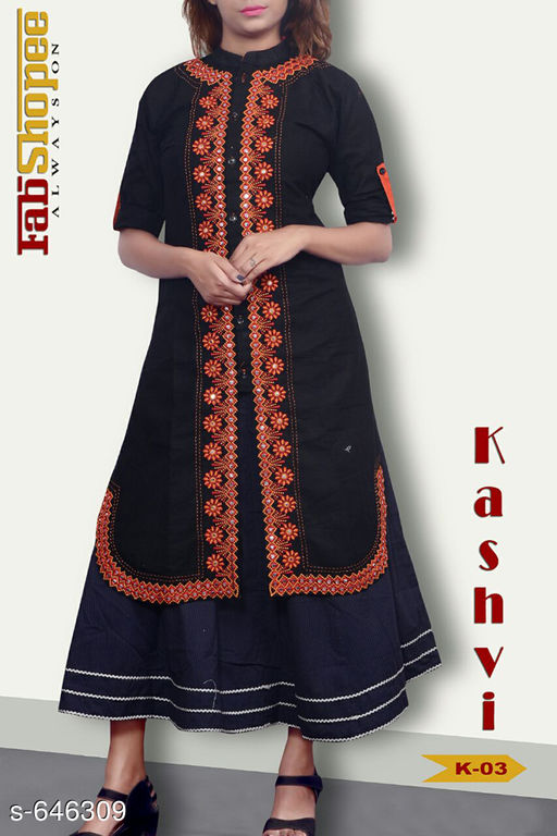 Kurtis & Kurtas Trendy Jute & Cotton Kurtis  *Fabric* Jute & Cotton  *Sleeves* 3/4 Sleeves Are Included  *Size* L - 40 in, XL - 42 in  *Length* Upto 50 in  *Type* Stitched  *Description* It Has 1 Piece Of Womens Kurti  *Work* Embroidery work with Mirror & Stone.  *Sizes Available* L, XL   SKU: TJCK-5 Free shipping is available for this item. Pkt. Weight Range: 300  Catalog Name: Anna Pretty Womens Kurti  Vol 8 - SVU Code: 546-646309--
