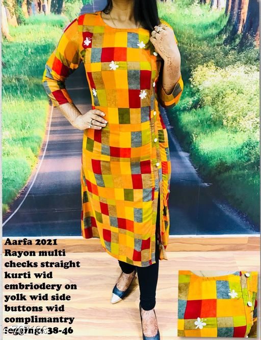 Kurta Sets Fancy Designer Kurti  *Fabric* Kurti - Rayon, Leggings - Cotton Lycra  *Sleeves* Kurti - 3/4th Sleeves Are Included  *Size* Kurti - S - 38 in, M - 40 in, L - 42 in, XL - 44 in, XXL - 46 in, Leggings - Up To 28 in To 34 in (Free Size)  *Length* Kurti - Up To 46 in, Leggings - Up To 40 in            *Type* Stitched  *Description* It Has 1 Piece Of Kurti & 1 Piece Of Legging  *Work* Kurti - Embroidery, Legging - Solid  *Sizes Available* S, M   Catalog Rating: ★4 (72) Supplier Rating: ★4 (3777) SKU: Aarfa 2021 Free shipping is available for this item. Pkt. Weight Range: 600  Catalog Name: Aarfa Designer Kurtis Vol 12 - Aarfa Kurtis Code: 359-707138--