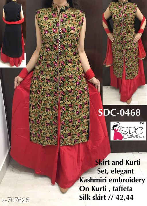 Kurtis & Kurtas Fancy Designer Party Wear Kurta Set  *Fabric* Kurti - Georgette, Skirt - Taffeta Silk  *Sleeves* Sleeves Are Not Included  *Size* Kurti - L - 42 in, XL - 44 in, Skirt - L - 32 in, XL - 34 in  *Length* Kurti - Up To 46 in, Skirt - Up To 40 in  *Type* Stitched  *Description* It Has 1 Piece Of Kurti & 1 Piece Of Skirt  *Work/ Pattern* Kurti - Embroidery, Skirt - Solid  *Sizes Available* L, XL   Catalog Rating: ★4 (19) Supplier Rating: ★4.3 (5098) SKU: SDC 0468 Free shipping is available for this item. Pkt. Weight Range: 400  Catalog Name: SDC Fashionable Kurtis Vol 4 - SDC Code: 5622-707625--