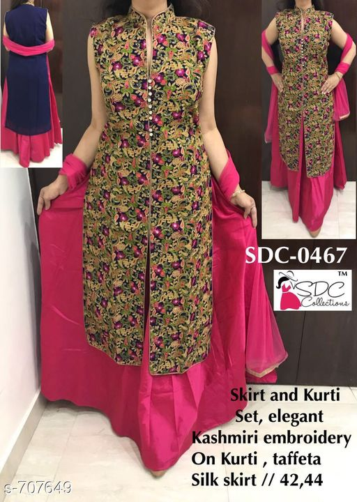 Kurtis & Kurtas Fancy Designer Party Wear Kurta Set  *Fabric* Kurti - Georgette, Skirt - Taffeta Silk  *Sleeves* Sleeves Are Not Included  *Size* Kurti - L - 42 in, XL - 44 in, Skirt - L - 32 in, XL - 34 in  *Length* Kurti - Up To 46 in, Skirt - Up To 40 in  *Type* Stitched  *Description* It Has 1 Piece Of Kurti & 1 Piece Of Skirt  *Work/ Pattern* Kurti - Embroidery, Skirt - Solid  *Sizes Available* L, XL   Catalog Rating: ★4 (19) Supplier Rating: ★4.3 (5098) SKU: SDC 0467 Free shipping is available for this item. Pkt. Weight Range: 400  Catalog Name: SDC Fashionable Kurtis Vol 4 - SDC Code: 5622-707649--