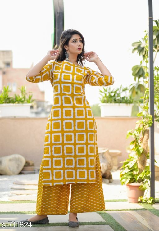 Kurta Sets Stylish Cotton Printed kurti Palazzo Set  *Fabric* Kurti -  Cotton , Palazzo - Cotton  *Sleeves* 3/4 Sleeves Are Included  *Size* Kurti - M - 38 in, L - 40 in, XL - 42 in, XXL - 44 in          Palazzo - Up To 28 in To 44 in ( Free size )  *Length* Kurti - Up to 46 in, Palazzo - Up To 40 in  *Type* Stitched  *Description* It Has 1 Piece Of Women's Kurtis With 1 Piece Of  Palazzo  *Work* Kurti - Printed ,  Palazzo - Printed  *Sizes Available* M, L, XL   Catalog Rating: ★3.9 (1227) Supplier Rating: ★4 (13023) SKU: gji_musturd_musturd Free shipping is available for this item. Pkt. Weight Range: 400  Catalog Name: Elegant Designer Cotton Printed Kurti Palazzo Sets - GOGAJI TRADERS Code: 966-711824--