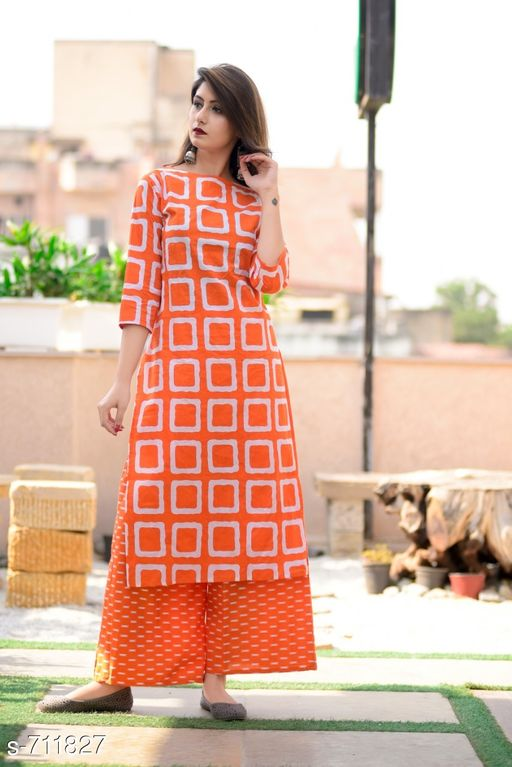 Kurta Sets Stylish Cotton Printed kurti Palazzo Set  *Fabric* Kurti -  Cotton , Palazzo - Cotton  *Sleeves* 3/4 Sleeves Are Included  *Size* Kurti - M - 38 in, L - 40 in, XL - 42 in, XXL - 44 in          Palazzo - Up To 28 in To 44 in ( Free size )  *Length* Kurti - Up to 46 in, Palazzo - Up To 40 in  *Type* Stitched  *Description* It Has 1 Piece Of Women's Kurtis With 1 Piece Of  Palazzo  *Work* Kurti - Printed ,  Palazzo - Printed  *Sizes Available* L, XL, XXL   Catalog Rating: ★3.9 (1227) Supplier Rating: ★4 (13023) SKU: gji_orange_orange Free shipping is available for this item. Pkt. Weight Range: 400  Catalog Name: Elegant Designer Cotton Printed Kurti Palazzo Sets - GOGAJI TRADERS Code: 966-711827--