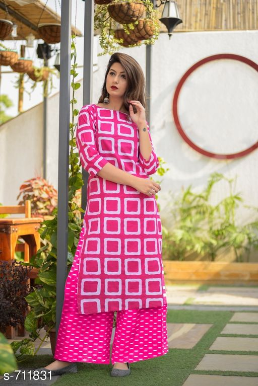 Kurta Sets Stylish Cotton Printed kurti Palazzo Set  *Fabric* Kurti -  Cotton , Palazzo - Cotton  *Sleeves* 3/4 Sleeves Are Included  *Size* Kurti - M - 38 in, L - 40 in, XL - 42 in, XXL - 44 in          Palazzo - Up To 28 in To 44 in ( Free size )  *Length* Kurti - Up to 46 in, Palazzo - Up To 40 in  *Type* Stitched  *Description* It Has 1 Piece Of Women's Kurtis With 1 Piece Of  Palazzo  *Work* Kurti - Printed ,  Palazzo - Printed  *Sizes Available* M, L, XL, XXL   Catalog Rating: ★3.9 (1227) Supplier Rating: ★4 (13023) SKU: gji_rani_rani Free shipping is available for this item. Pkt. Weight Range: 400  Catalog Name: Elegant Designer Cotton Printed Kurti Palazzo Sets - GOGAJI TRADERS Code: 966-711831--