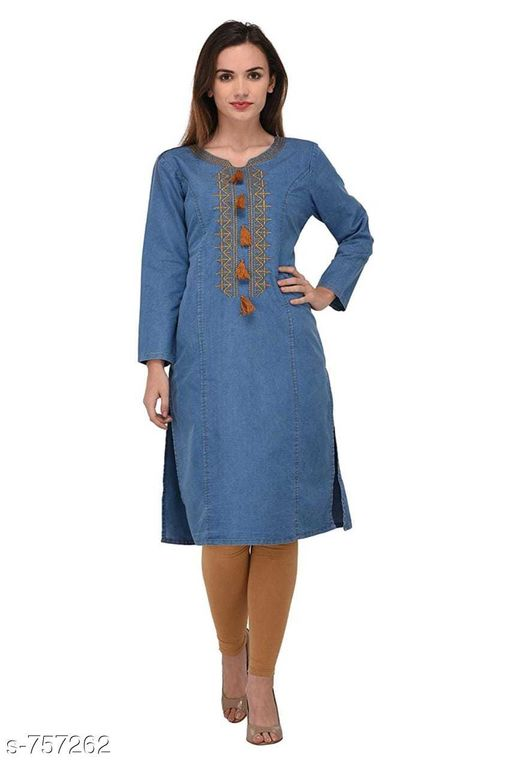 Suits & Dress Materials Trendy Women's Kurti Sets  *Fabric* Kurti- Denim, Legging- Cotton  *Sleeves* Full Sleeves Are Included  *Size* Kurti  *Length* Kurti - Up To 47 in             Legging- Up To 40 in  *Type* Stitched  *Description* It Has 1 Pieces Of Kurti & 1 Piece Of Legging  *Work* Kurti-  Embroidery / Solid  *Pattern* Legging- Solid  *Sizes Available* M, L, XL, XXL   Supplier Rating: ★3 (6) SKU: TWKS_5 Free shipping is available for this item. Pkt. Weight Range: 500  Catalog Name: Kavia Stylish Denim Kurtis Sets Vol 2 - KMT Ethnic Center Code: 077-757262--
