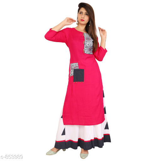 Kurtis & Kurtas Stylish Women's Kurti with Skirt  *Fabric* Kurti - Rayon, Skirt - Rayon  *Sleeves* 3/4 Sleeves Are Included  *Size* Kurti - M - 38 in, L - 40 in, XL - 42 in, XXL - 44 in, Skirt - Up To 28 in To 34 in (Free Size)  *Length* Kurti - Up To 44 in To 46 in, Skirt - Up To 40 in  *Type* Stitched  *Description* It Has 1 Piece Of Women's Kurti With 1 Piece Of Skirt  *Work* Kurti - Printed, Skirt - Printed  *Sizes Available* M, L, XL, XXL   Catalog Rating: ★4.6 (19) Supplier Rating: ★4.2 (56) SKU: lf-009 Shipping charges: Rs1 (Non-refundable) Pkt. Weight Range: 300  Catalog Name: Cecilia Designer Women's Kurtis Vol 5#Re1shipping - LUCKY'S FASHION Code: 978-853389--359