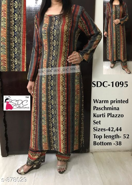 Kurtis & Kurtas Fancy Designer Party Wear Kurtis Set  *Fabric* kurti - Pashmina , Palazzo - Pashmina  *Sleeves* Kurti - Full Sleeves are Included  *Size* Kurti - L - 42 in, XL - 44 in, Palazzo-  L - 34 in, XL - 36 in  *Length* Kurti - Up To 52 in, Palazzo - Up To 38 in,  *Type* Stitched  *Description* It Has 1 Piece Of Kurti  And 1 Piece Of Palazzo  *Work* Kurti - Printed, Palazzo - Printed  *Sizes Available* L, XL   Catalog Rating: ★4.1 (8) Supplier Rating: ★4.3 (4781) SKU: SDC-1095 Shipping charges: Rs1 (Non-refundable) Pkt. Weight Range: 500  Catalog Name: SDC Kurtis and Palazzo Set Vol 1 - SDC Code: 4941-878029--5651