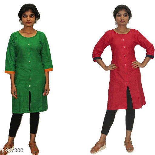 Kurtis & Kurtas Stylish  Women's Kurtis Combo  *Fabric* Cotton  *Sleeves* 3/4 Sleeves Are Included  *Size* L - 40 in  *Length* Kurti - Up to 44 in  *Type* Stitched  *Description* It Has 2 Piece Of Women's Kurtis  *Work* Solid  *Sizes Available* XL   Supplier Rating: ★3.8 (50) SKU: combo-2.1 Free shipping is available for this item. Pkt. Weight Range: 900  Catalog Name: Parinaaz Stylish  Women's Combo Kurtis Vol 4 - TBS Solutions Code: 095-987388--