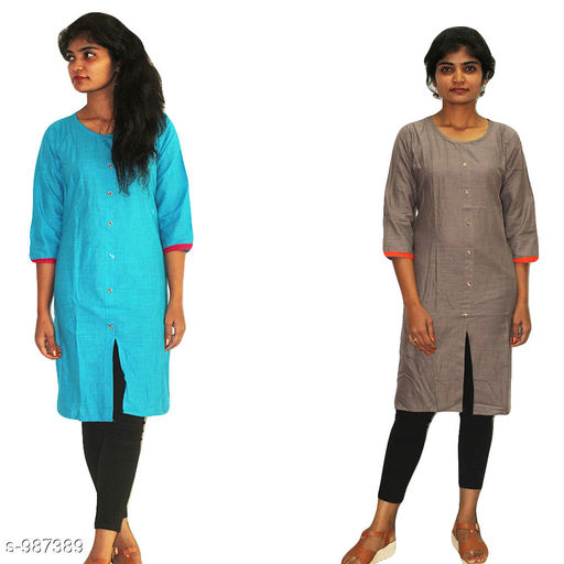 Kurtis & Kurtas Stylish  Women's Kurtis Combo  *Fabric* Cotton  *Sleeves* 3/4 Sleeves Are Included  *Size* L - 40 in  *Length* Kurti - Up to 44 in  *Type* Stitched  *Description* It Has 2 Piece Of Women's Kurtis  *Work* Solid  *Sizes Available* XXL   Supplier Rating: ★3.8 (50) SKU: combo-3.1 Free shipping is available for this item. Pkt. Weight Range: 900  Catalog Name: Parinaaz Stylish  Women's Combo Kurtis Vol 4 - TBS Solutions Code: 095-987389--